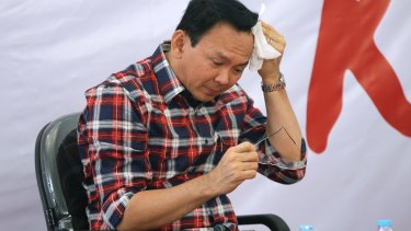 Jakarta governor Basuki Tjahaja Purnama, popularly known as Ahok, at a campaign event in Jakarta in November.