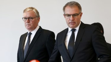 'We are shocked' ... Lufthansa Chief Executive Carsten Spohr and Germanwings Managing Director Thomas Winkelmann (left) give a news conference in Cologne Bonn Airport.