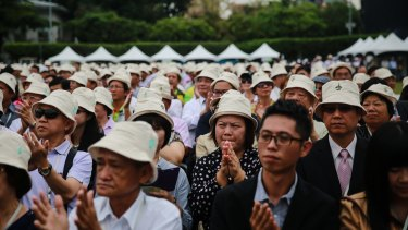 Attendees applaud during the inauguration ceremony of Tsai Ing-wen at the Presidential Palace in Taipei on Friday.