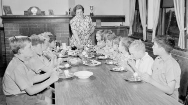 Meal time at Fairbridge Farm Molong, according to a publicity shot.