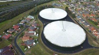 The new Dandenong North mini-hydro plant is at the top of the photo, above the two huge water storage tanks.