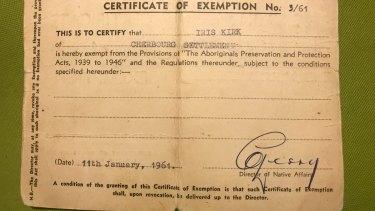 Iris Paulson's exemption card.