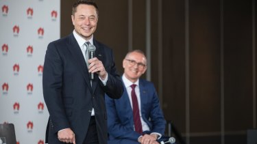 Tesla chief executive Elon Musk (left) and SA Premier Jay Weatherill announced the world's biggest lithium ion battery would be built in South Australia.