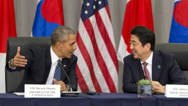 Japanese Prime Minister Shinzo Abe (right) has warned US President Barack Obama (left) and other G7 leaders gathered in Japan on the state of the global economy.