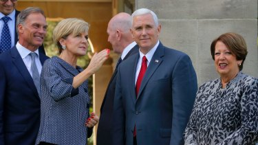 Mike Pence and Julie Bishop at a reception for Australian and US servicemen and women at Admiralty House in Kirribilli.