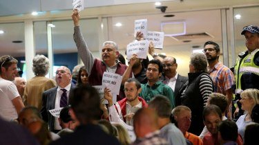 Crowds gather at Casey council for the April mosque decision.