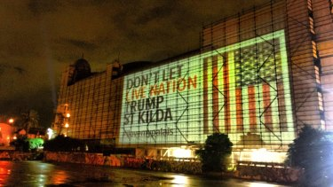 Opponents of music giant Live Nation getting a lease for The Palais last week projected this image onto the venue.