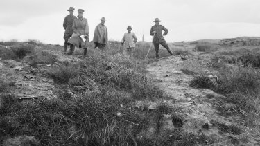 A photograph taken in 1919 showing the short distance between trenches at Lone Pine.
