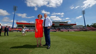 Opposition Leader Bill Shorten and ALP candidate for Herbert Cathy O'Toole (right) visit the 1300Smiles Stadium, home ground of the Cowboys, in Townsville, last month.
