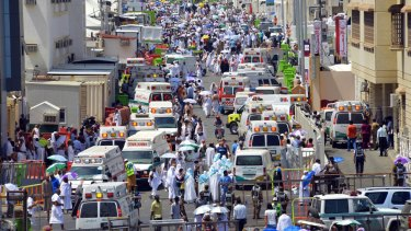 Ambulances rush to the scene after the stampede.