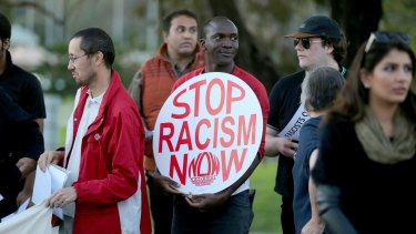 Anti racism crowds protested at the Casey Civic Centre.