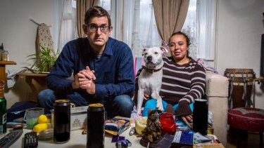 Louis Theroux with Aurelie, a patient he met at King's College Hospital who is featured in <i>Drinking to Oblivion</I>.