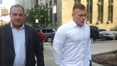 Disgraced: Matthew Lodge attends court in New York last December.