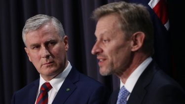 Small Business Minister Michael McCormack and Australian statistician David Kalisch during a press conference on the census.