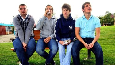 Andy Nicholson (left), bass guitar, Matt Helders, drums, Alex Turner, lead vocalist and guitar, and Jamie Cook, guitar, in their early days.