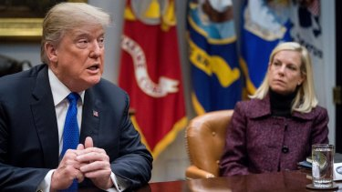 US President Donald Trump and US Homeland Security Secretary Kirstjen Nielsen.