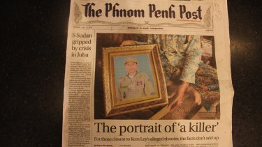 A photo of Oeut Ang, the accused killer of Cambodian commentator Kem Ley, makes the front page of the <i>Phnom Penh Post</I>.