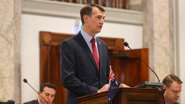 Brisbane Mayor Graham Quirk delivers his budget speech.
