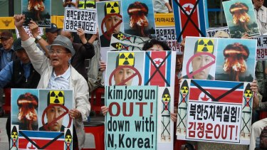 South Korean protesters during a rally denouncing the latest North Korea's nuclear test.