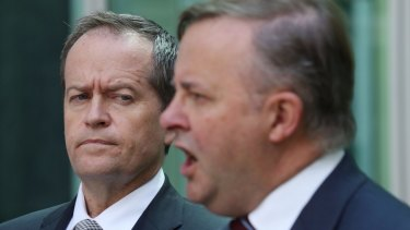 Opposition Leader Bill Shorten andAnthony Albanese during a press conference in Canberra.