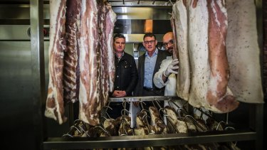 The award winning smoke-house Pialligo Estate has moved to a new location in Fairbairn after a fire gutted the building they were in. Checking out the new digs are general manager Charlie Costelloe, director Rowan Brennan and Smokehouse manager Alex Petryk, right.