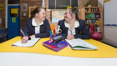 Marnie Stevens-Denholm and Lucy Weston are hard at work with their HSC.