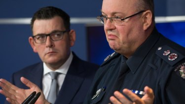 """Victorian Premier Daniel Andrews, pictured with Chief Commissioner Graham Ashton in June, says concerns about civil liberties are a """"luxury""""."""
