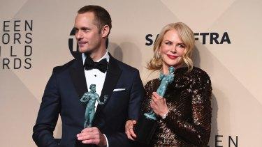 Nicole Kidman with her Big Little Lies co-star Alexander Skarsgard.