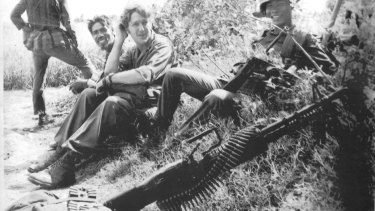 Neil Davis, centre, in September 1972, almost always worked with Vietnamese troops.