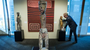 Tim Klingender, senior consultant on Australian art to Sotheby's London, at a preview in Melbourne ahead of the September 21 auction featuring items including Indigenous sculpture and contemporary art