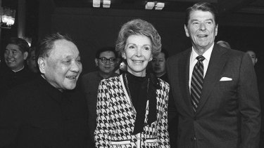 Chinese leader Deng Xiaoping with Nancy and Ronald Reagan in Beijing in 1984.