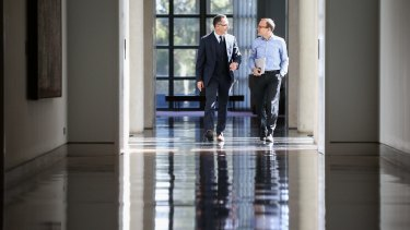 Senator Richard Di Natale and Adam Bandt arrive for the Greens leadership ballot.