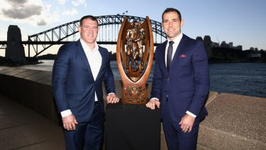 Harbour highlight: Cronullla Sharks captain Paul Gallen and Melbourne Storm skipper Cameron Smith with the Provan-Summons trophy.