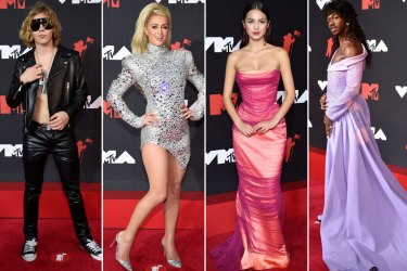Kid Laroi, Paris Hilton, Olivia Rodrigo, and Lil Nas X arrive at the MTV Video Music Awards.