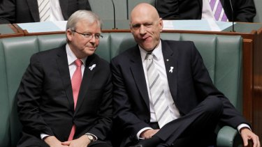 Kevin Rudd Peter Garrett in Parliament.