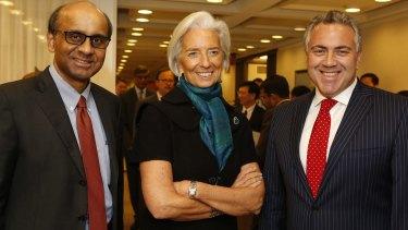 Australian Treasurer Joe Hockey meets IMF managing director Christine Lagarde and Singaporean Finance Minister Tharman Shanmugaratnam in Washington in 2014.