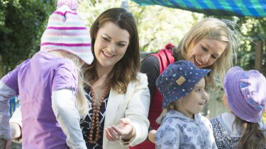 Sarah Hanson-Young and Larissa Waters of the Greens visit a childcare centre in East Brisbane.