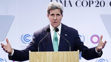 Plea for action: US Secretary of State John Kerry speaks at the UN Climate Change Conference in Lima.