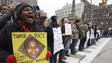 Demonstrators block Public Square on Tuesday in Cleveland protesting against the police shooting of Tamir Rice.