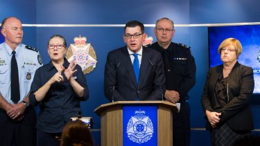 Premier of Victoria Daniel Andrews, Chief Commissioner Graham Ashton and Police Minister Lisa Neville at a press conference on the Brighton siege.