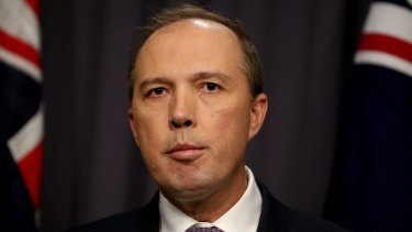 Immigration Minister Peter Dutton at a press conference in Canberra on Tuesday.