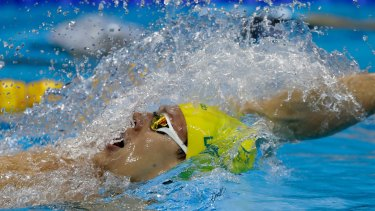 Australia's silver medal winner Mitch Larkin competes in the men's 200m backstroke final.