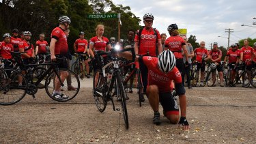 Dulwich Hill Bicycle Club members pay tribute at the site of the fatal crash.
