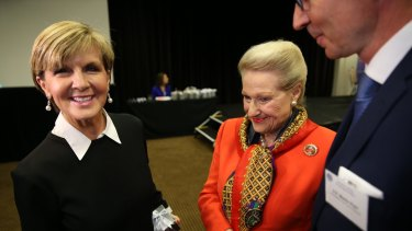 Ms Bishop, pictured with former speaker Bronwyn Bishop, says Australia won't shy away from difficult issues during the council's review of Australia's human rights record.