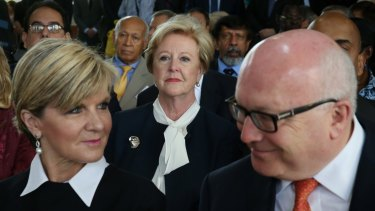 Foreign Affairs Minister Julie Bishop and Attorney-General George Brandis launch Australia's candidacy for the United Nations Human Rights Council with Human Rights Commission president Gillian Triggs looking on.