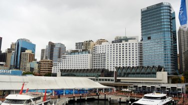 The view from Darling Harbour of the Hyatt Regency Sydney hotel, which has recently added 222 rooms, making it the biggest up-scale full-service hotel in Australia with 892 rooms.