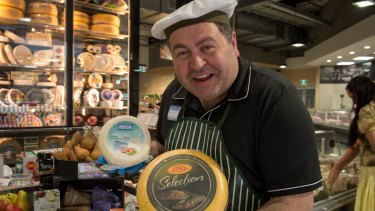 Cheerful Charlie, as he calls himself, is in charge of the gourmet cheese selection in the Dromana store.