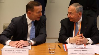 Prime Minister Tony Abbott held a meeting with his business advisory council including chair Maurice Newman in Parliament House in Canberra on Monday 29  September 2014. Photo: Andrew Meares