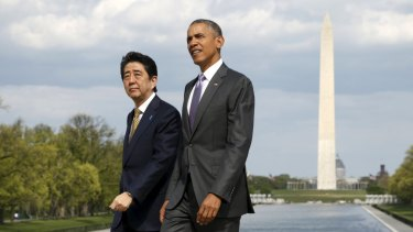Japanese Prime Minister Shinzo Abe and US President Barack Obama. Abe promises Americans a quantum leap in reform.