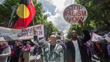 The Doctors March for Refugees rally in the CBD.